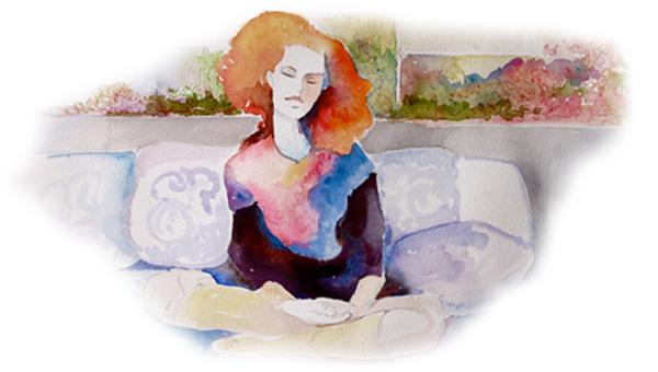 Freie transzendentale Meditation bequem sitzend